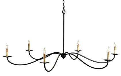 The Saxon Black Chandelier is one of our monumental chandeliers that extends to an impressive 63 inches in diameter. Its shape and the Zanzibar black finish are nods to a bygone era but its slender lines that arc gracefully make its profile modern. We also offer this fixture in a silver Granello finish.