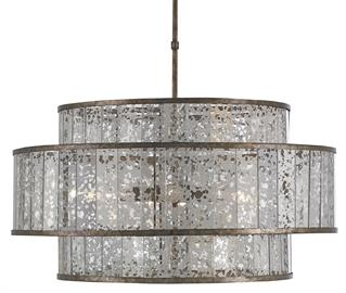 The Fantine Large Chandelier has shades made of Raj mirror that strikingly resemble mercury glass. The Pyrite bronze finish on the metal of this mirrored chandelier echoes the mottled tones in the glass to create synchronicity. The Fantine is also available in a small chandelier and a wall sconce