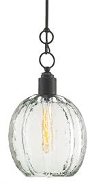 The Aquaterra Pendant with its recycled glass shade has a loveliness not often associated with recast glass. This is because the glassblower achieved a surface that reads like water frozen into a globe shape. An old-iron finish is a contrasting element on the glass pendant, which has an adjustable hanging height.
