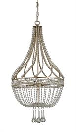 Dazzling strands of beaded crystal line a wrought iron frame, swirling about the column of the lavish Ingénue Chandelier. Below, shapely crystal drops and swags complete the classic empire style. A Chinois Antique Silver Leaf finish brings out the sparkle in this cosmopolitan design.