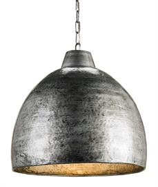 The Earthshine Steel Large Pendant has a hammered dome shape for a cool industrial look. Made of iron in a blackened steel finish, this sturdy silver pendant has a luminous glow on the interior. We offer this fixture, one of the rough luxe pendants in our lineup, in a small steel pendant and a large brass pendant.