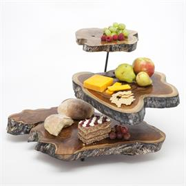 Wow you guest with this 3 tiered cheese platter from natural teak wood.