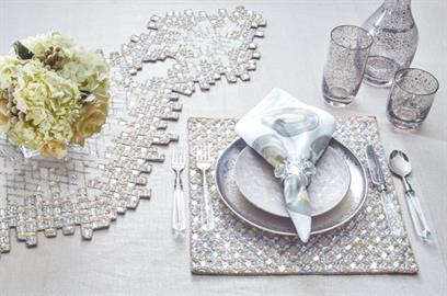 The Diamond Collection from Kim Seybert will add luxury to any dinner party.