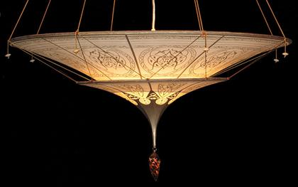 "Hand made silk chandelier. 33"" in diameter"