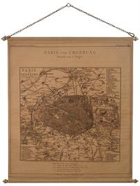 Reproduction of antique map of Paris on aged fabric