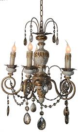 Antique Reproduction Beaded Carved Wood Chandelier