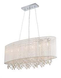 Bring a dramatic focal point to any area of your home with the unique oval Beverly Dr. collection. Cut and polished crystals are held in place with stainless steel rings and illuminated by brilliant light and graced by a beautiful silk string shade.
