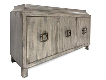 This low profile buffet shows a beautiful hand painted weathered grey finish and iron hardware. Customizable in size and finish.