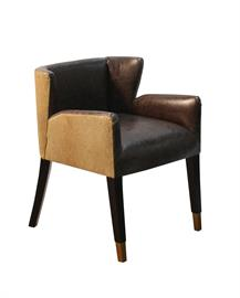 One of our best sellers! Low profile and cozy with the arm, everyone loves the look and feel of this chair. the rectangular nails on the outside back and the metallic feet caps make this chair amazing! available in any fabric or leather combination, any finish can be applied.