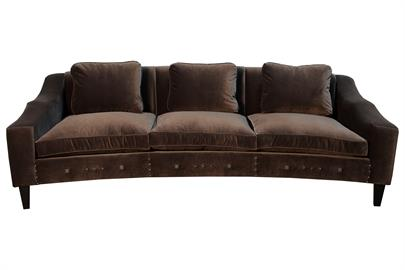 100% Made in california, this curved sofa features many well thought out details. the mixed nail heads offer a chic statement and the curves along the arm offer support as well as style. offered in many sizes and fabrics.
