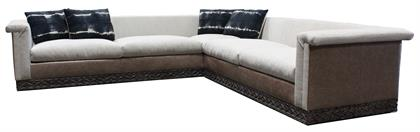 The belvedere sectional is where hacienda meets contemporary. The low profile frame is structured and finely tailored which perfectly juxtaposes the imperfect hand carved base. The base is intricately carved by skilled artisans and features a traditional fluid motif that expresses beautiful movement within the wood. The belvedere, while shown here in a stunning 13x13 configuration with Italian leather and Mist grey chenille, can be made in any size and in any number of materials including your COMS.