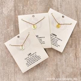 Carded Zodiac symbol necklace. Available in all 12 signs.