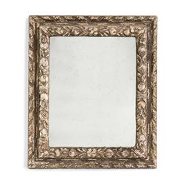 The ornate hand carved wood frame is reveled with our proprietary technique of removing layers of paint and gesso finish to expose a time worn appearance.