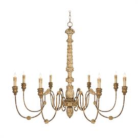 The grand center post, hand carved in organic details and leaf motifs is surrounded by eight shimmer arms creating a perfectly proportioned grand light.