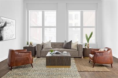 Elevate city living with dark wood pieces, metallic accents, and leather upholstery. Textured rugs and select fabrics provide a final, elegant touch.