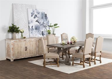 Relax in the comfort of classic forms blended with contemporary materials. Upholstered seating, hand finished wood furniture and floral-patterned textiles bring an updated look to familiar favorites.