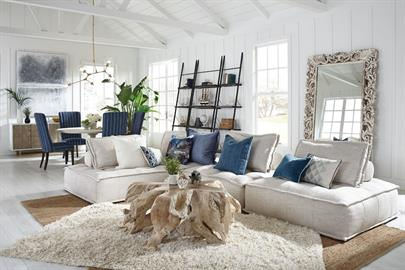 Bring relaxation and comfort to the fore with plush seating and whitewashed woods. Stonewashed textiles and natural fiber rugs add color and texture to this refreshing look.