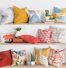 This collection's playful color combinations are set in block prints, oversized florals and geometric patterns. Embroidery, pleating and velvet fabric add texture and craft details that make every pillow unique.
