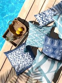 Bring the beauty of our textiles outdoors with Villa Outdoor Collection. Made with durable fabrics in attractive designs, the playful patterns of our easy to mix and match pillows will refresh your outdoor space.