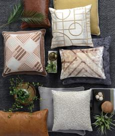 Geometric patterns and monochromatic color schemes create a contemporary feel across the collection. Its rich mix of fabrics and washes adds dimension and texture.