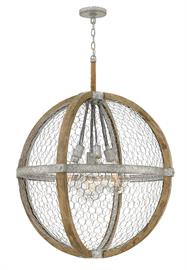 This dynamic mix is the perfect blend of rustic and cosmopolitan flair. Elegant, globe style vintage bulbs are a chic focal point, while the textured, layered design of wood, metal and rope creates visual excitement.